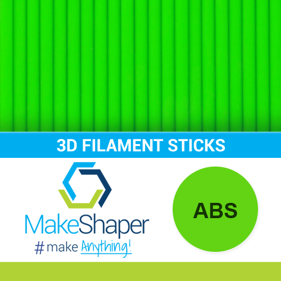 neon green abs filament sticks, abs filament sticks, neon green filament sticks