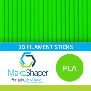 neon green pla filament sticks, pla filament sticks, neon green filament sticks