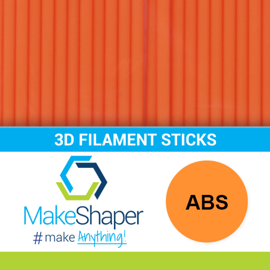 neon orange abs filament sticks, abs filament sticks, neon orange filament sticks