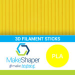 yellow pla filament sticks, pla filament sticks, yellow filament sticks
