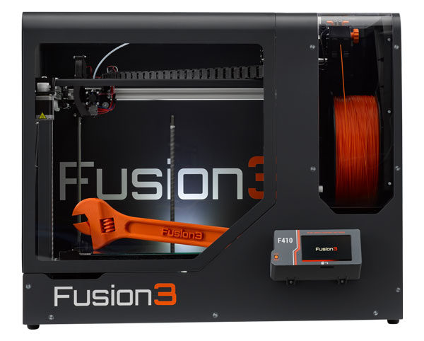Fusion3-F410—Printer-Only—Straight-On—Orange-Wrench